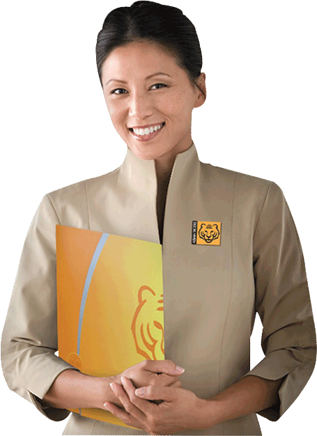 Professional customer service consultant lady with Asian Tigers uniform brochure